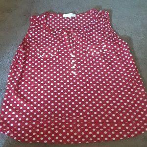 Size L Eden & Olivia red & white poka for blouse